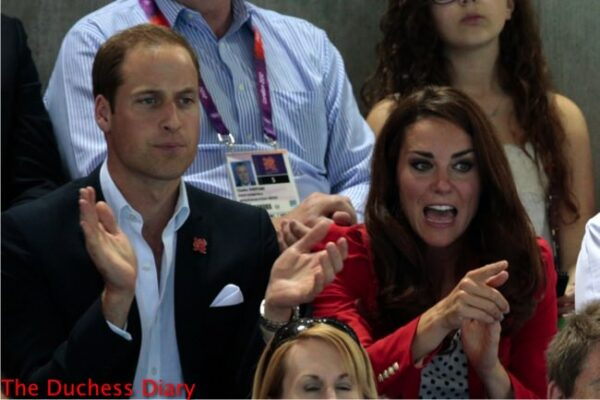 prince william claps kate middleton points excited 2012 summer olympics swimming