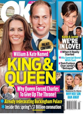 kate middleton jenny packham sequined gown prince william raf uniform king and queen OK! cover