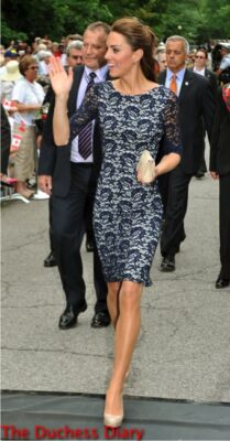 kate middleton navy lace erdem dress ottawa rideau hall