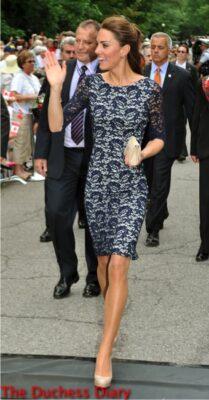 kate middleton navy lace erdem dress ottawa rideau hall