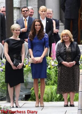 kate middleton blue erdem dress freedom of the city ceremony quebec