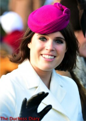 princess eugenie magenta juliette botterill hat christmas day 2014
