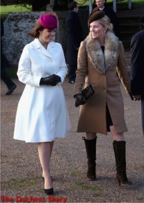 princess eugenie white coat magenta juliette botterill hat autumn phillips brown juliette botterill hat christmas service 2014