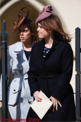 princess beatrice princess eugenie wear juliette botterill hats easter sunday 2016