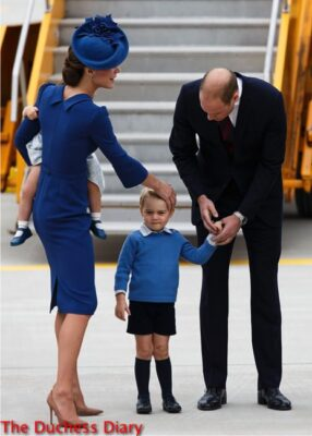 kate middleton fixes prince george hair victoria canada airport
