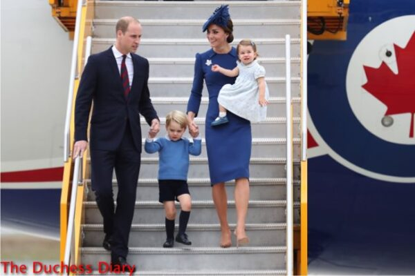 prince william kate middleton hold prince george hand deplane victoria canada