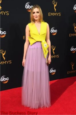laura carmichael yellow pink dress emmy awards 2016 los angeles
