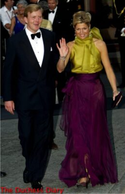 king willem alexander queen maxima green purple dress princess martha louise royal wedding