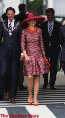 queen maxima netherlands red outfit design derby