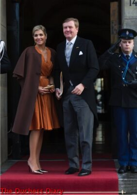 queen maxima copper outfit king willem alexander diplomatic corps
