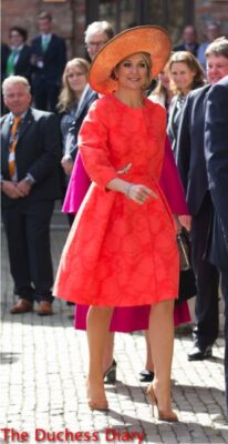 queen maxima orange dress four freedoms awards 2016