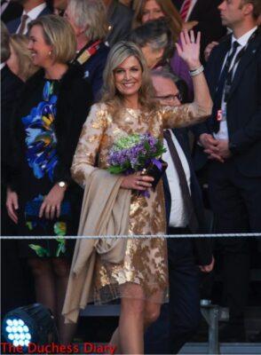 queen maxima netherlands rose gold dress liberation day concert