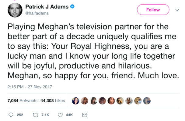 Patrick J. Adams Praises Meghan Markle Royal Engagement