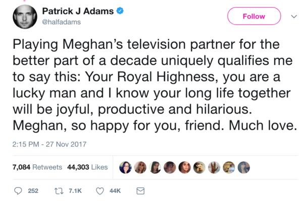 Patrick J. Adams Praises Meghan Markle Royal Engagement
