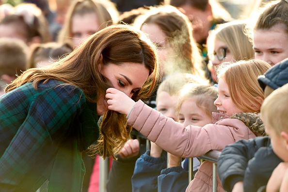 Kate Middleton Looks Hair Touched By Little Scottish Girl