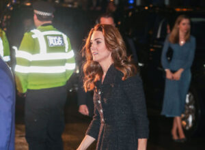 "Kate Middleton Black Eponine Dress ""Dear Evan Hansen Performance"" Noel Coward Theater"