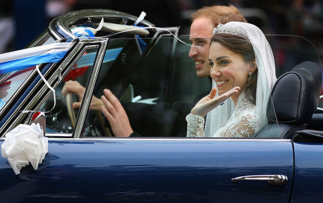 Prince William Kate Middleton Newlyweds Drive Off Princes Charles Vintage Aston Martin Royal Wedding April 2011