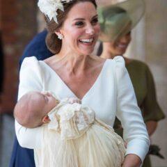 Kate Middleton Smiles Cream Jane Taylor Embellished Headband Prince Louis Christening July 2018