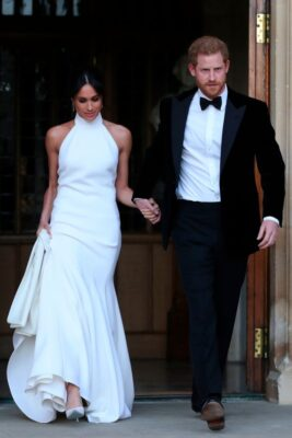 Meghan Markle White Stella McCartney Dress Prince Harry Leave Windsor Castle For Evening Reception