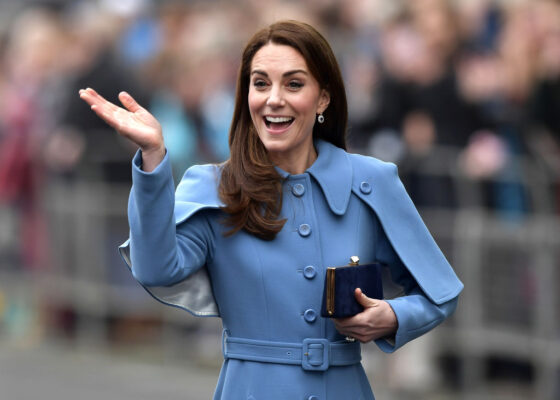 Kate Middleton Waves Mulberry Blue Cape Coat