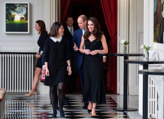 The Duchess of Cambridge Alexander McQueen Black Sleeveless Dress UK Ambassador to France Reception Paris 2017