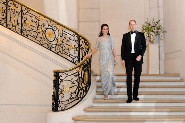 Kate Middleton Ice Blue Jenny Packham Gown British Embassy Paris 2017 Prince William Tuxedo