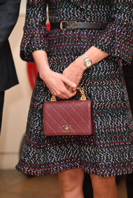 Close-Up of Kate Middleton's Quilted Maroon Chanel Purse Paris 2017 Visit