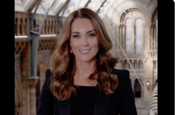 Kate Middleton Black Blazer Curly Hair Natural History Museum Video